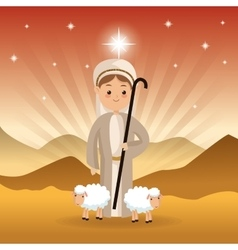 Shepherd and sheeps icon Merry Christmas design vector image vector image