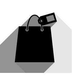 shopping bag sign with tag black icon vector image