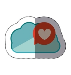 Sticker blue cloud with heart dialogue vector
