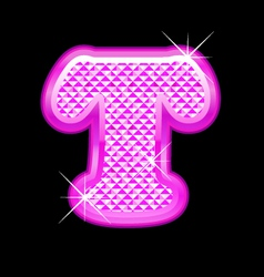T letter pink bling girly vector image vector image