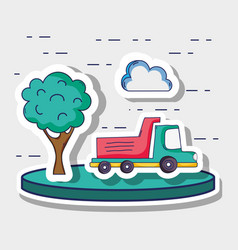 Transportation truck with cloud and tree patches vector