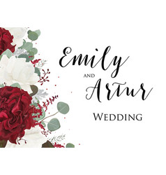 Wedding floral invitation save the date card vector