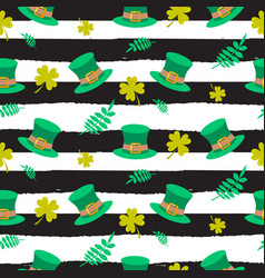Ireland saint patrick hat on striped seamless vector