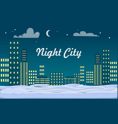 Night city buildings snow on ground winter vector