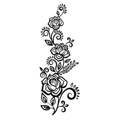 Black-and-white flowers and leaves vector
