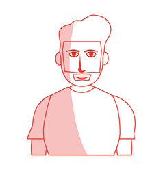 Red silhouette shading cartoon half body guy with vector