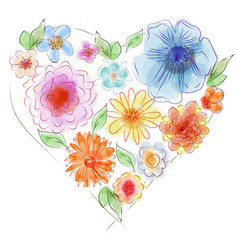 Watercolor heart of flowers vector