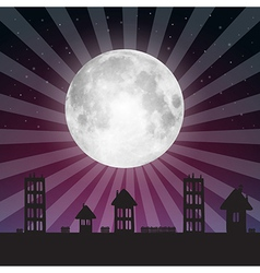 Full moon with stars above city vector
