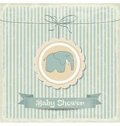 Retro baby shower card with little elephant vector