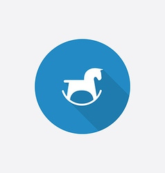 Horse toy flat blue simple icon with long shadow vector
