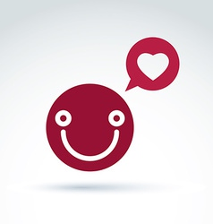 Smiling happy person in love red speech bubble vector