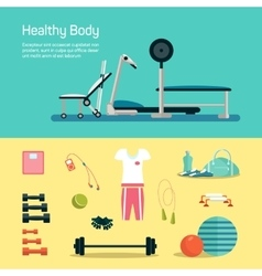 Vecotr gym set workout and health vector