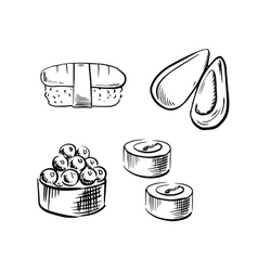 Sea mussel sushi rolls and nigiri vector