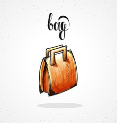Stylish colored hipster fashion bag handmade in vector