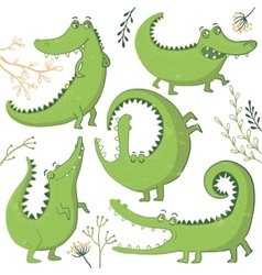 Set of funny hand drawn crocodiles vector