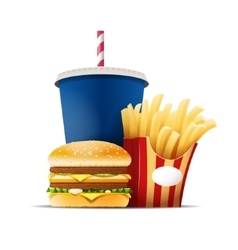 Fast food still life with a hamburger fries and vector image