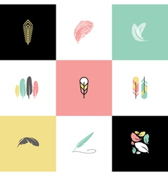 Feather set logos and icons vector