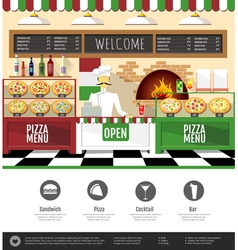 Flat style pizzeria interior web site design vector