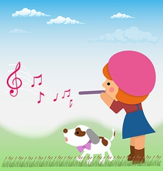 Cartoon little girl is playing on the flute from vector