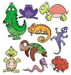 Reptiles and amphibians doodle icon set vector