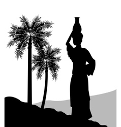 Woman with vessel icon desert design vector