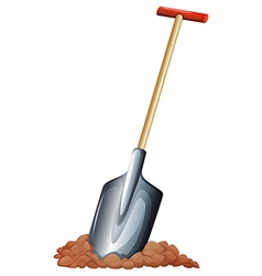 A shovel with a wooden handle vector image vector image