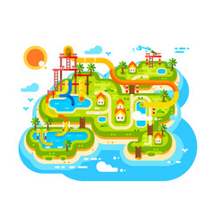 Aquapark plan with water slides vector