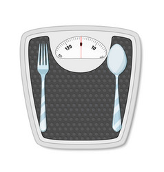 bathroom scales with fork and spoon vector image vector image