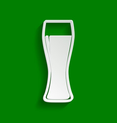 Beer glass sign paper whitish icon with vector