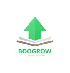 book and up arrow logo concept vector image