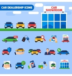 Car dealership flat icons composition banner vector