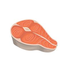 cartoon with fresh raw salmon steak vector image