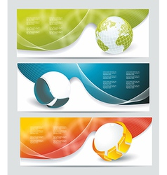 Collection banner design with glass balls and vector image