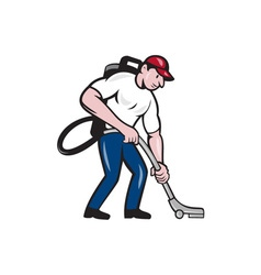 Commercial cleaner janitor vacuum cartoon vector