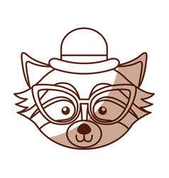Cute shadow raccoon face cartoon vector