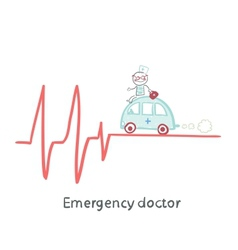 Emergency doctor traveling by car on ecg vector