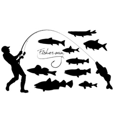 fisherman and fishes silhouettes vector image
