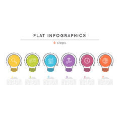 Flat style 6 steps timeline infographic template vector