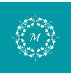 Floral monogram template vector