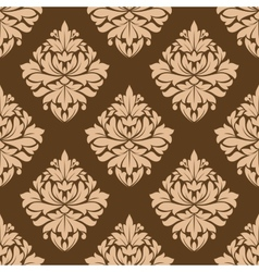 Floral seamless brown arabesque pattern vector image