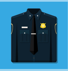 folded blue policeman uniform with badge vector image