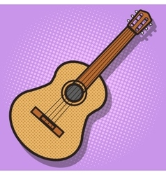 Guitar hand drawn pop art style vector