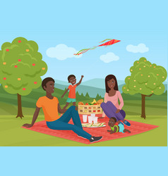 Happy young african american family with kid on a vector