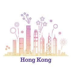 hong kong city panorama with colorful vector image vector image