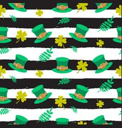 ireland saint patrick hat on striped seamless vector image