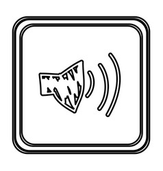 monochrome contour with button of audio speaker vector image