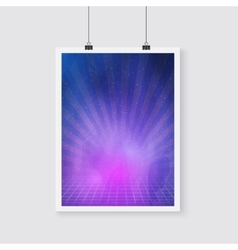 Outer space retro neon poster with nebula vector