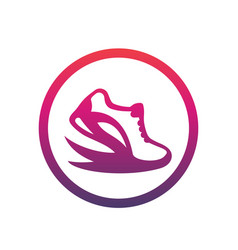 running logo element icon in circle over white vector image vector image
