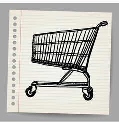 Scribble shopping cart vector image