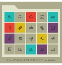 Seo icons set 2 multicolored square flat buttons vector